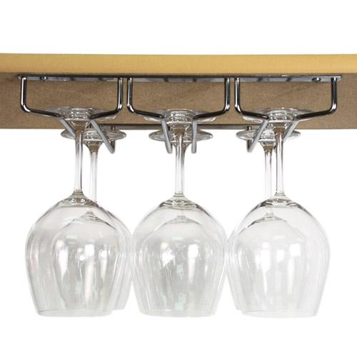 stash under cabinet stemware rack getstorganized. Black Bedroom Furniture Sets. Home Design Ideas